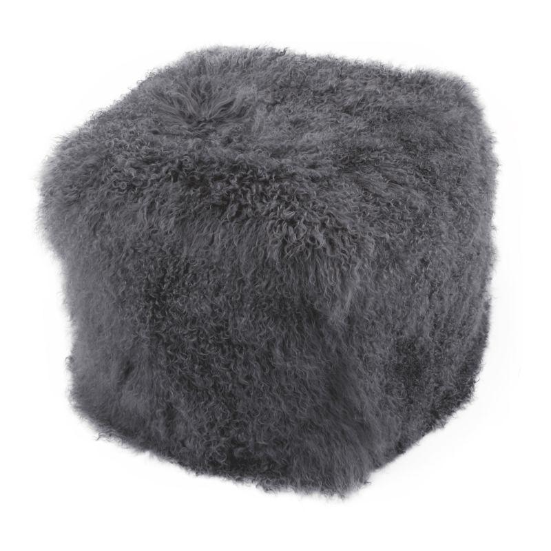 Moe's Home Collection Lamb Fur Pouf Smoke (XU-1009-07)