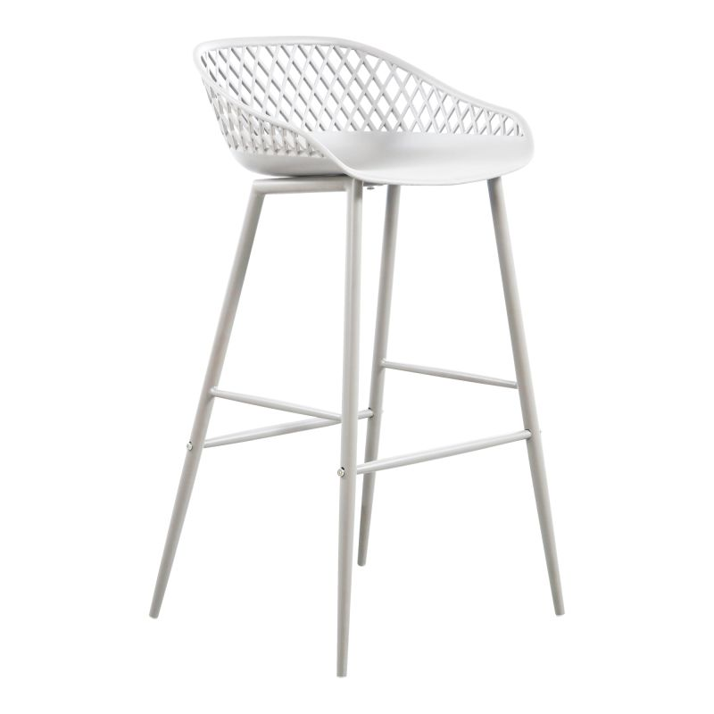 Moe's Home Collection Piazza Outdoor Barstool White - Set of 2 (QX-1004-18)