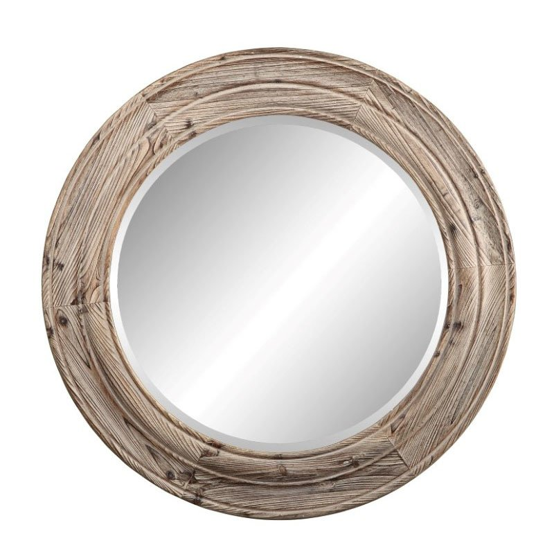 Moe's Home Collection Porthole Mirror in Brown (MH-1072-20)