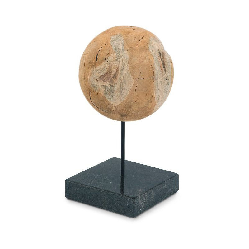 Moe's Home Collection Round Teak Ball On Black Marble Base Large (EI-1027-24)