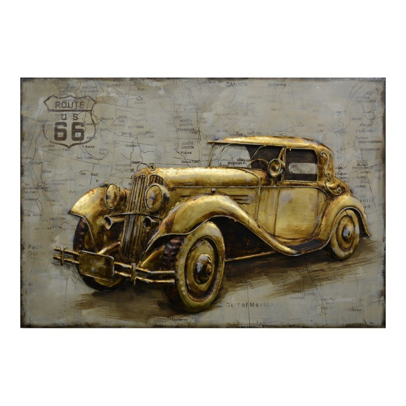 Moe's Home Collection Route 66 Wall Decor in Gold (PR-1025-32)
