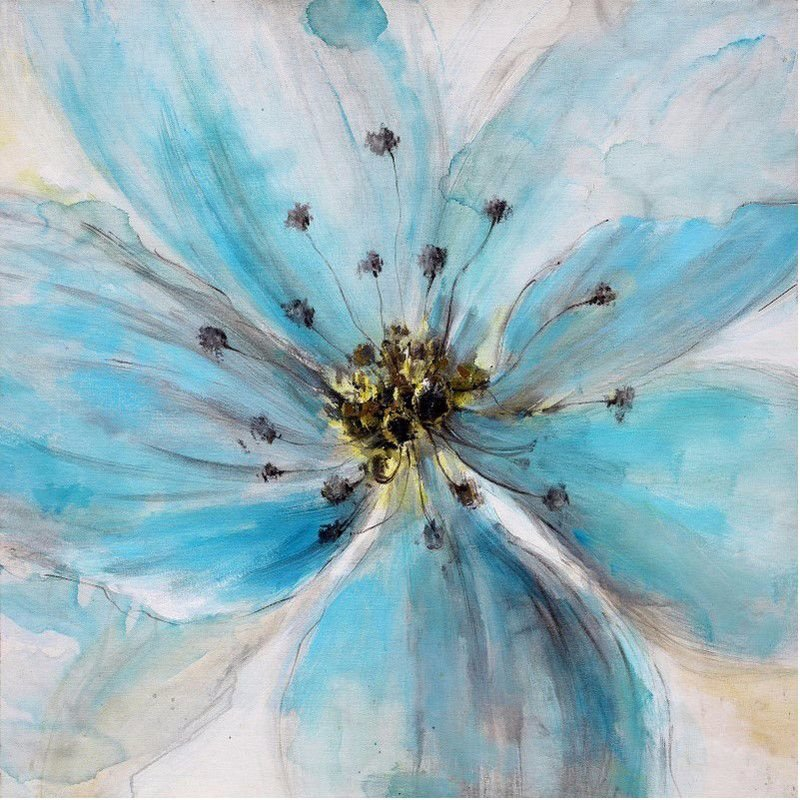 Moe's Home Collection Sky Blue Poppy Wall Decor (FX-1154-37)
