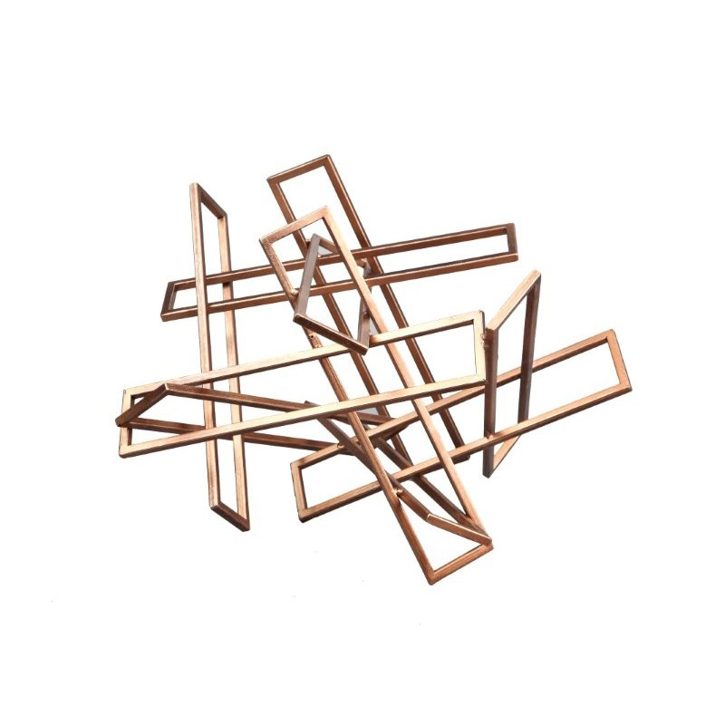 Moe's Home Collection Tangled Rectangles Sculpture in Gold Small (HW-1046-32)
