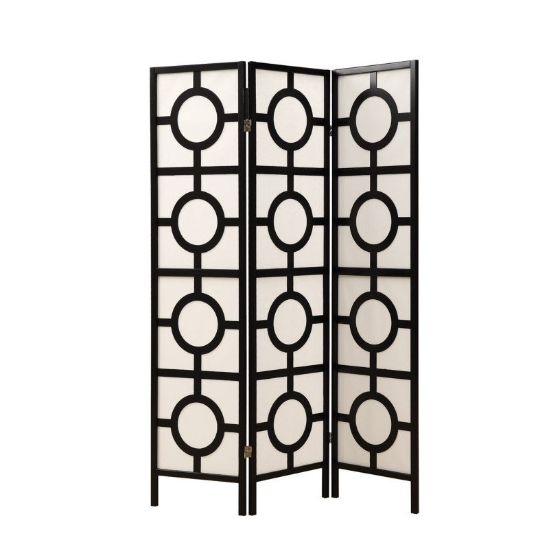 Monarch 3-Panel Circle Design Room Divider in Black