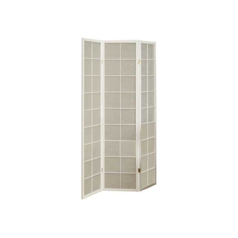 Monarch 3-Panel Fabric Inlay Room Divider in White