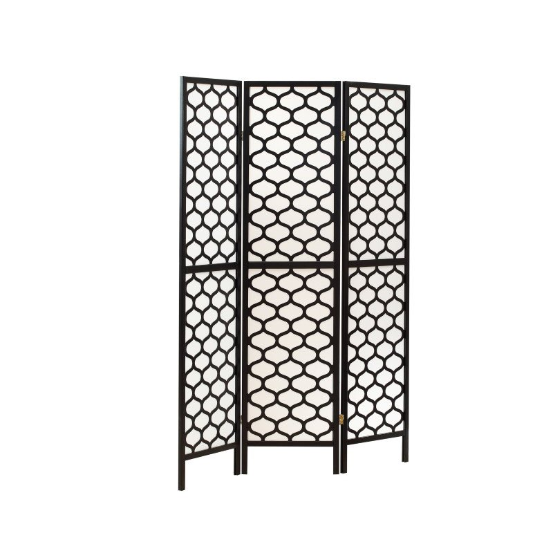 Monarch 3-Panel Lantern Design Room Divider in Black