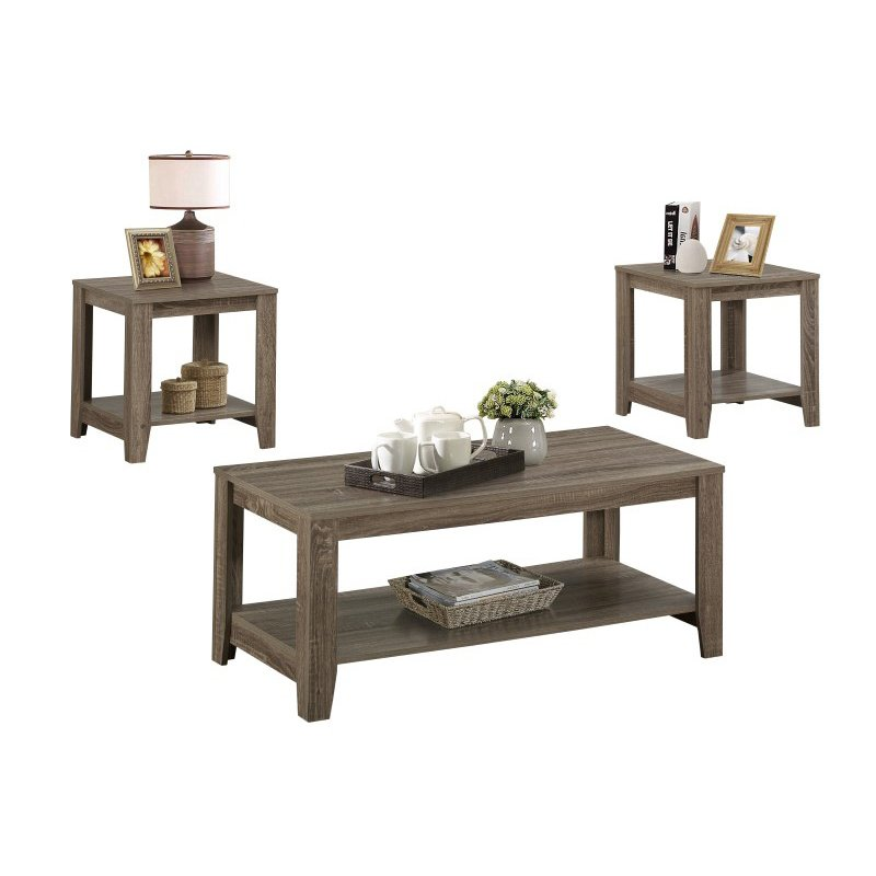 Monarch 3 Piece Coffee Table Set with Bottom Shelves in Dark Taupe