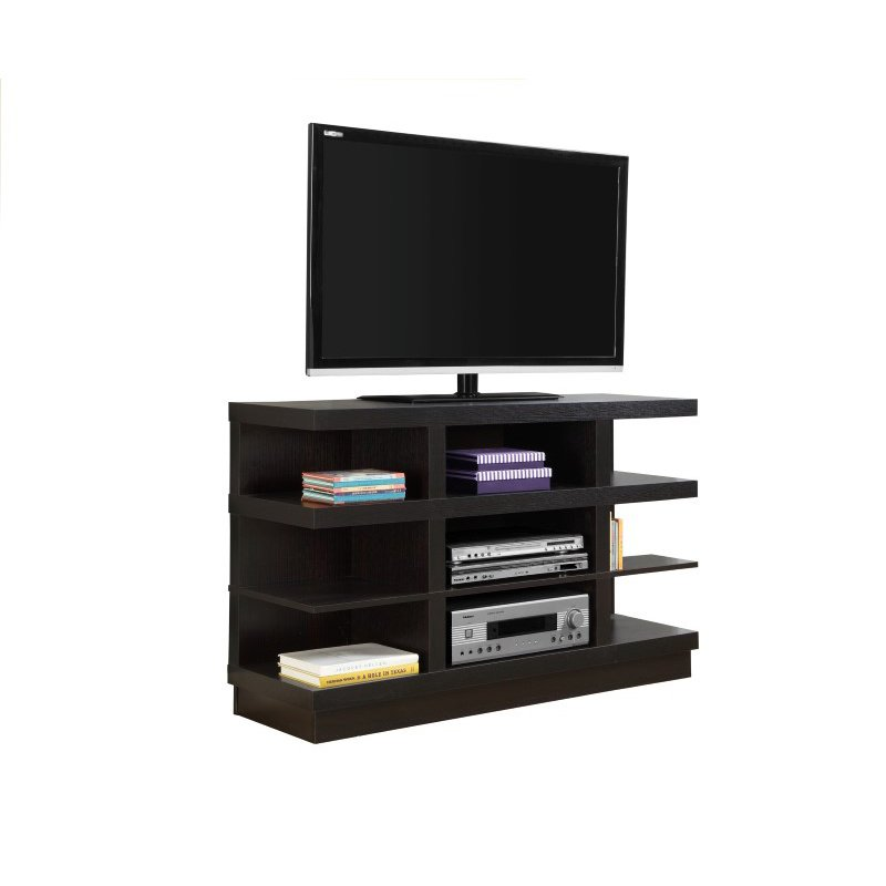 """Monarch 48"""" 9-Shelves TV Stand in Cappuccino"""