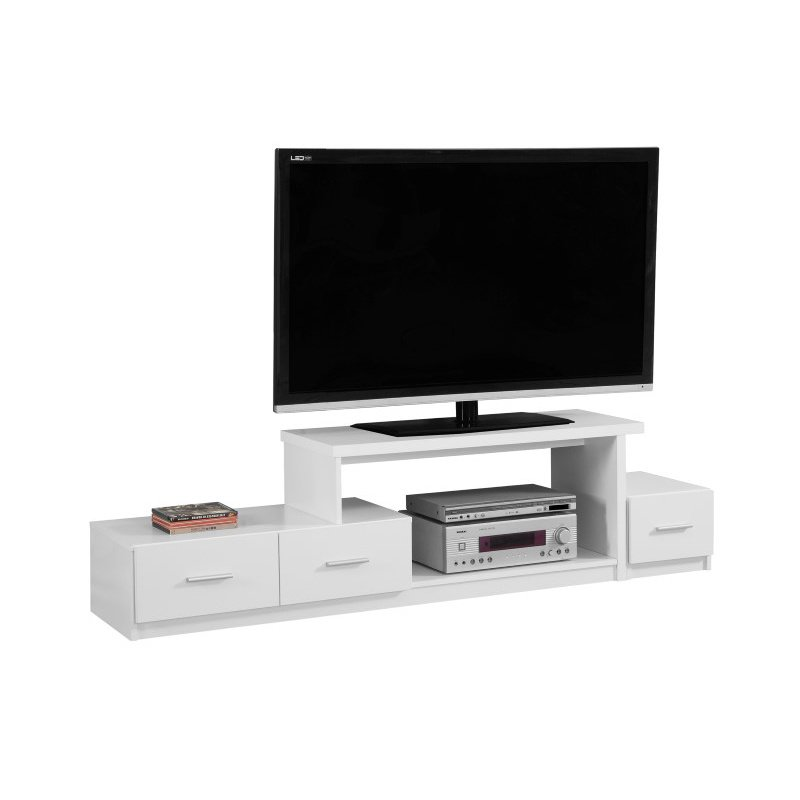 """Monarch 72"""" TV Stands with 3-Drawers in White"""