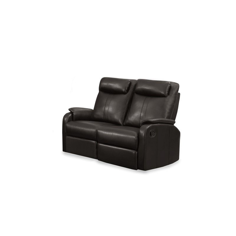 Monarch Bonded Leather Reclining Loveseat in Brown
