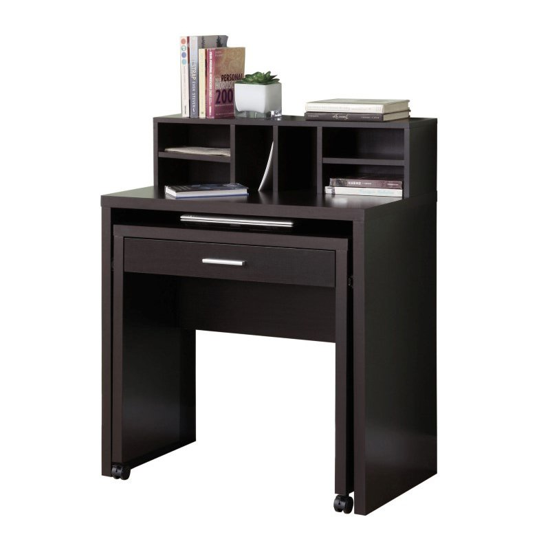 Monarch Computer Desk with Open-Storage in Cappuccino