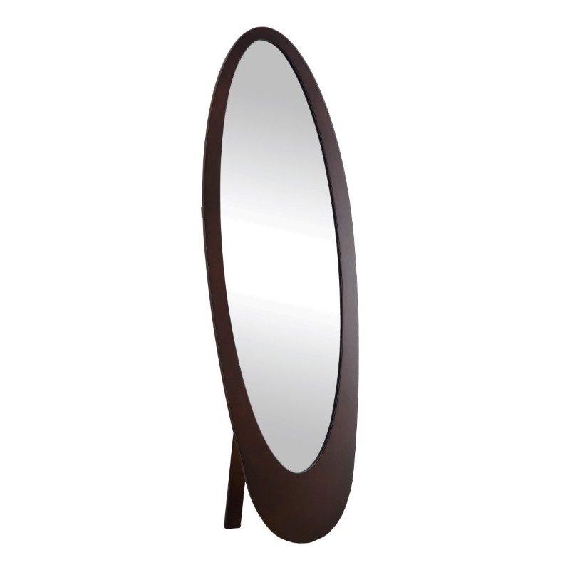 Monarch Contemporary Oval Cheval Mirror in Cappuccino