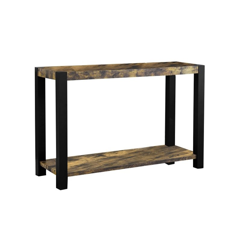 Monarch Distressed Reclaimed-Look Console Table in Black & Wood