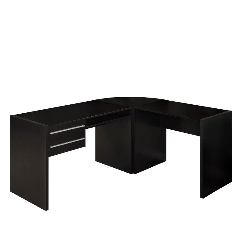 Monarch L Shaped Computer Desk in Cappuccino