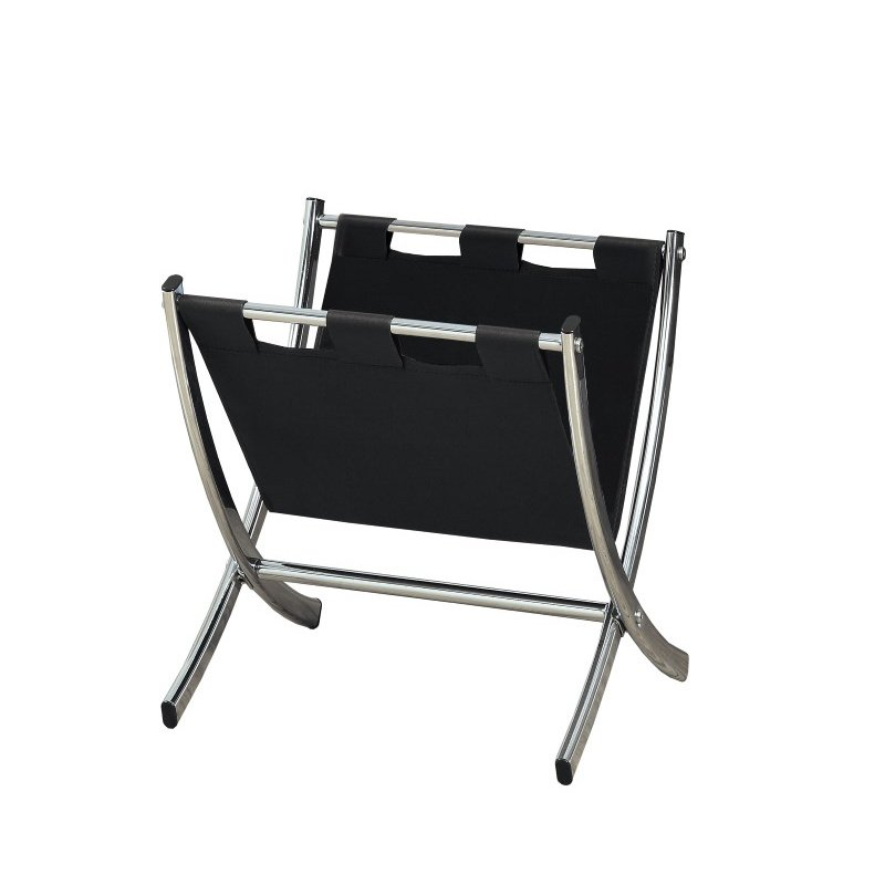 Monarch Leather-Look Magazine Racks in Black & Chrome