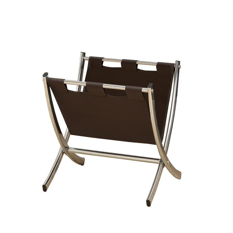 Monarch Leather-Look Magazine Racks in Brown & Chrome