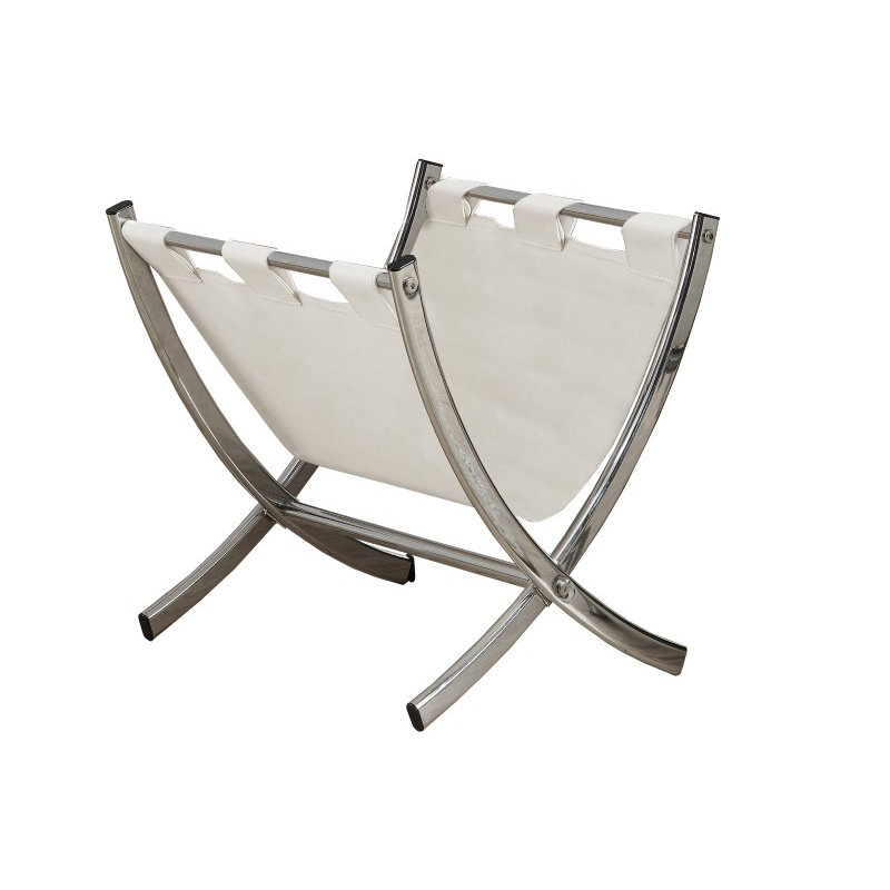 Monarch Leather-Look Magazine Racks in White & Chrome
