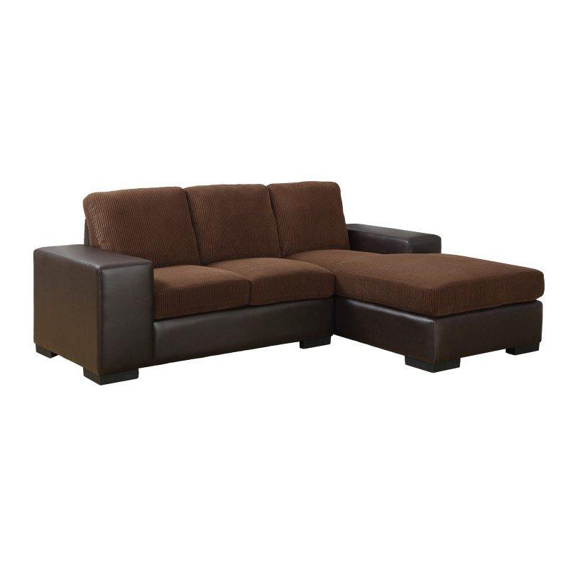 Monarch Leather-Look Sectional in Dark Brown Curduroy