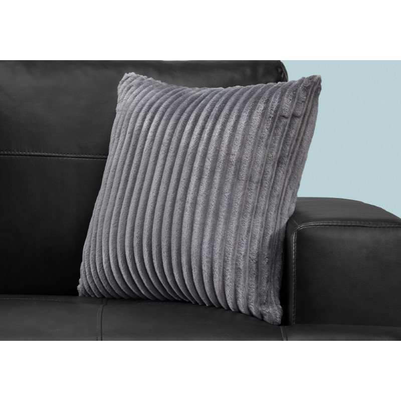 """Monarch Specialties 18"""" x 18"""" Pillow in Grey Ultra Soft Ribbed Style / 1pc (I 9352)"""