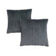 """Monarch Specialties 18"""" x 18"""" Pillow in Grey Ultra Soft Ribbed Style / 2pcs (I 9353)"""