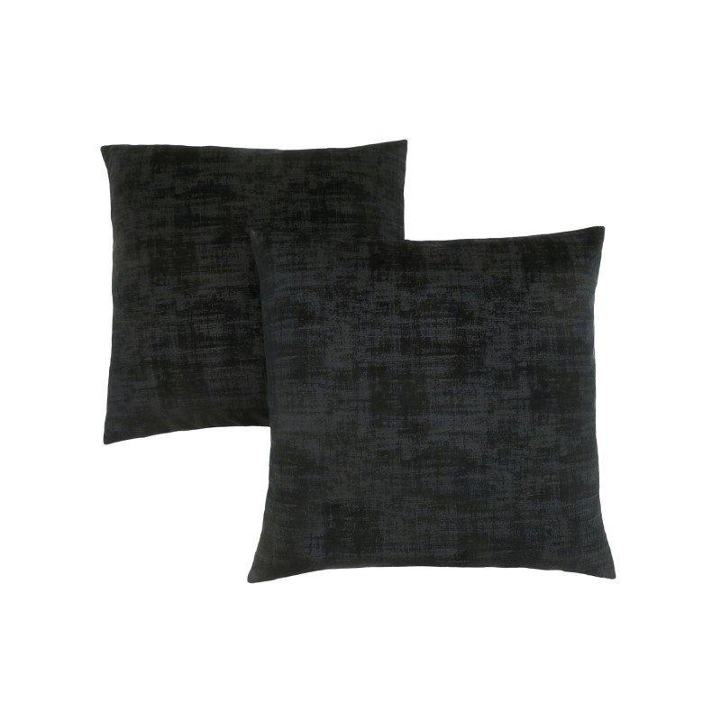 "Monarch Specialties 18"" x 18"" Pillow in Black Brushed Velvet / 2pcs (I 9253)"