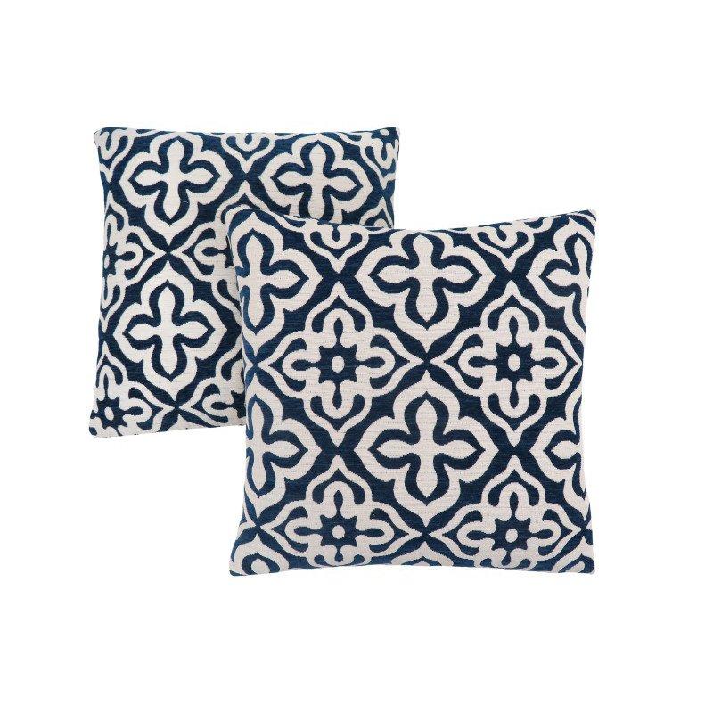 "Monarch Specialties 18"" x 18"" Pillow in Dark Blue Motif Design / 2pcs (I 9227)"