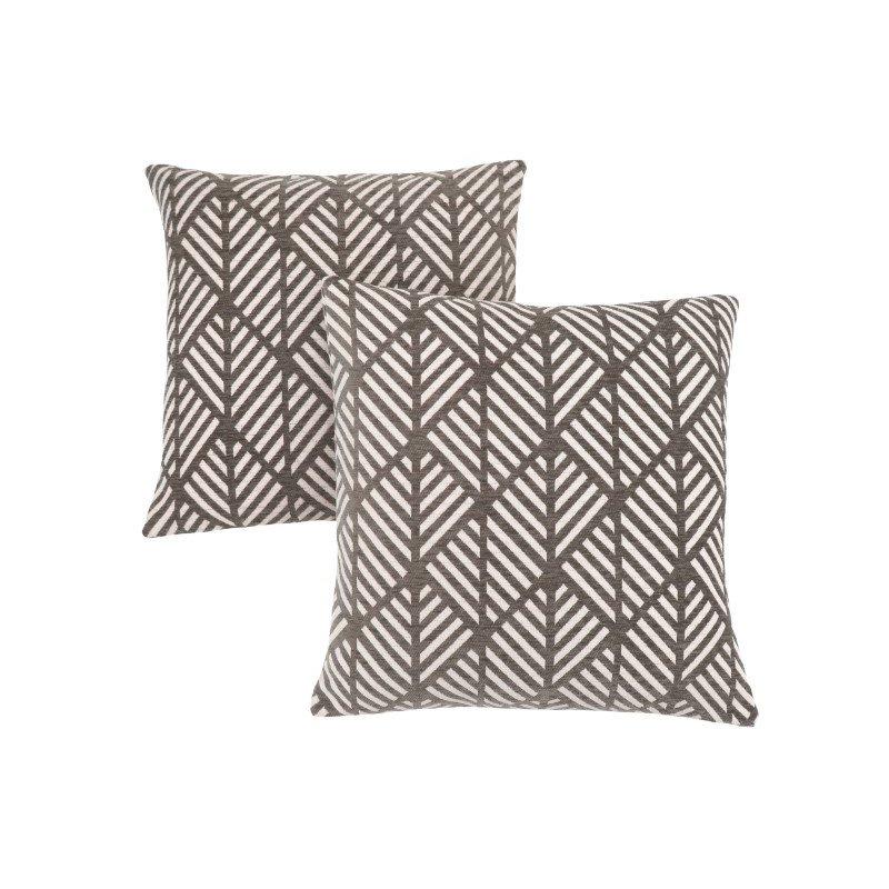"Monarch Specialties 18"" x 18"" Pillow in Dark Taupe Geometric Design / 2pcs (I 9203)"
