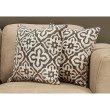 "Monarch Specialties 18"" x 18"" Pillow in Dark Taupe Motif Design / 2pcs (I 9217)"