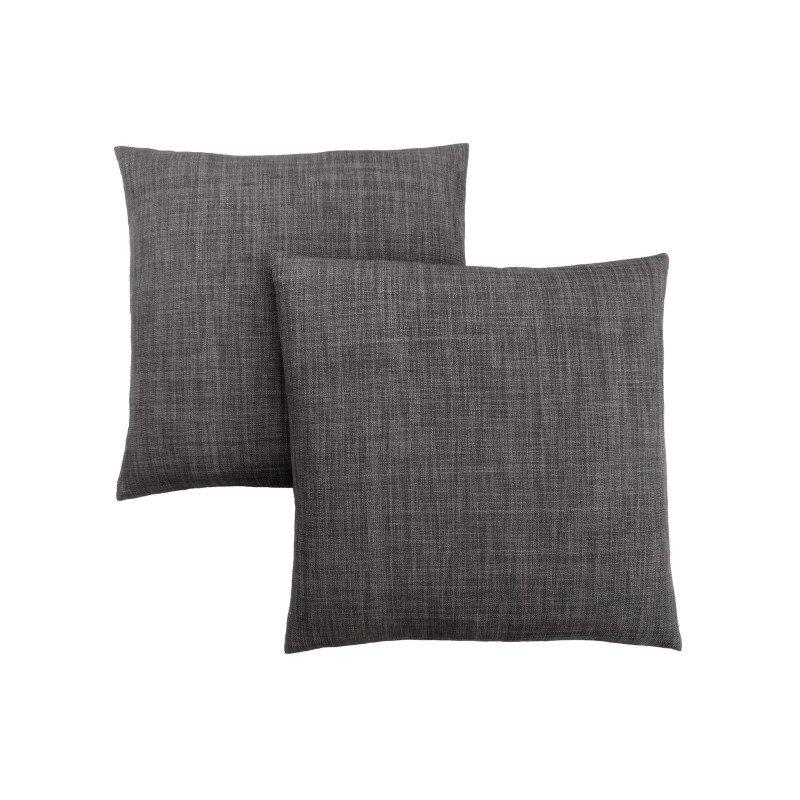 "Monarch Specialties 18"" x 18"" Pillow in Linen Patterned Dark Grey / 2pcs (I 9313)"