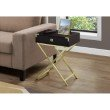 """Monarch Specialties 24""""H Accent Table in Cappuccino / Gold Metal (I 3556)"""