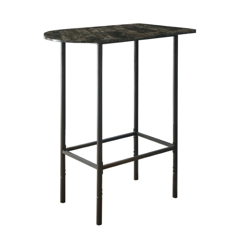 "Monarch Specialties 24"" x 36"" Home Bar in Grey Marble and Charcoal Metal (I 2325)"