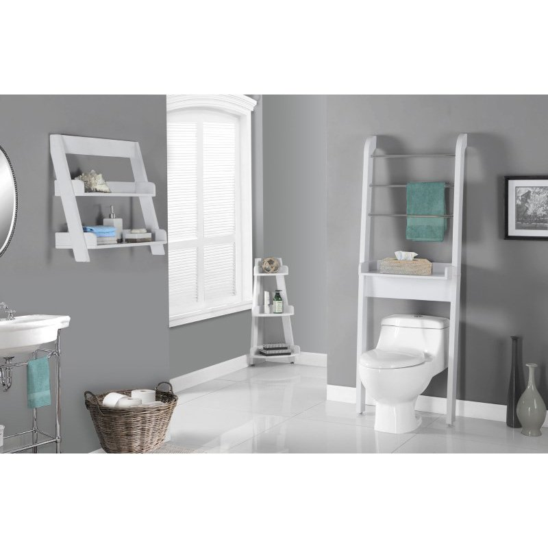 """Monarch Specialties 24""""H Bathroom Accent Wall Mount Shelf in White (I 3439)"""