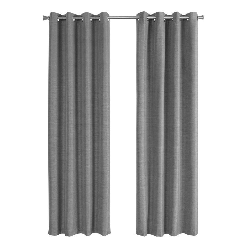 """Monarch Specialties 2pcs 52""""W x 84""""H Curtain Panel in Grey Solid Blackout (I 9841)"""