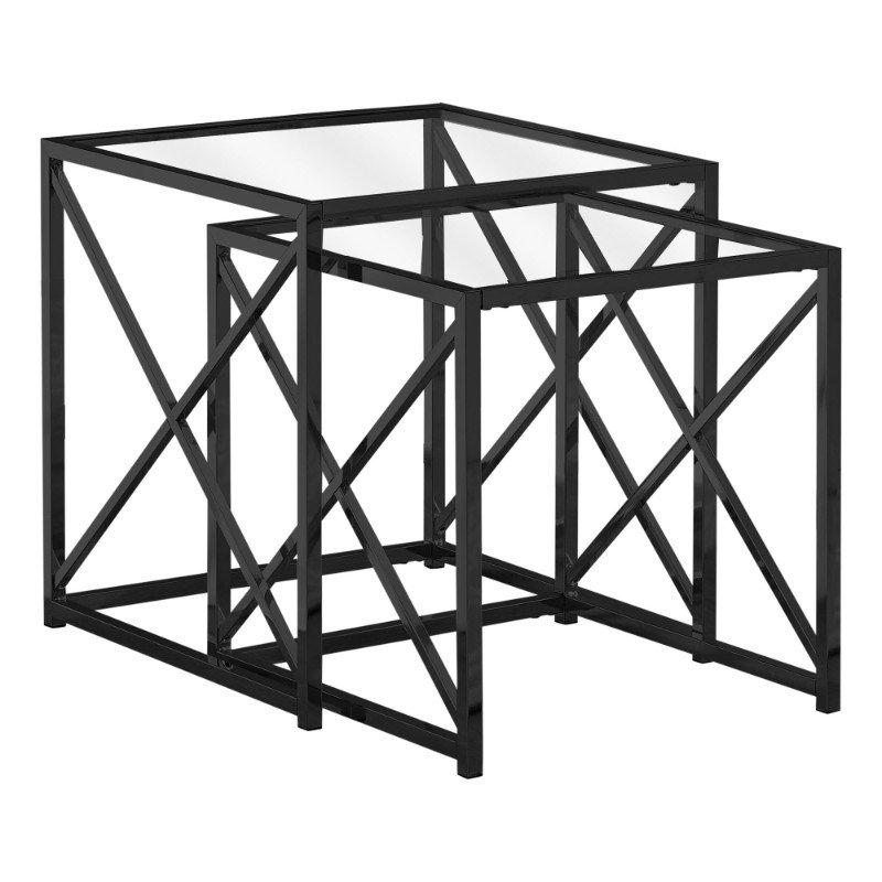 Monarch Specialties 2pcs Nesting Tables in Black Nickel Metal / Tempered (I 3448)
