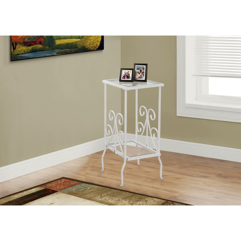 """Monarch Specialties 30""""H Accent Table in White Metal with Tempered Glass (I 3157)"""