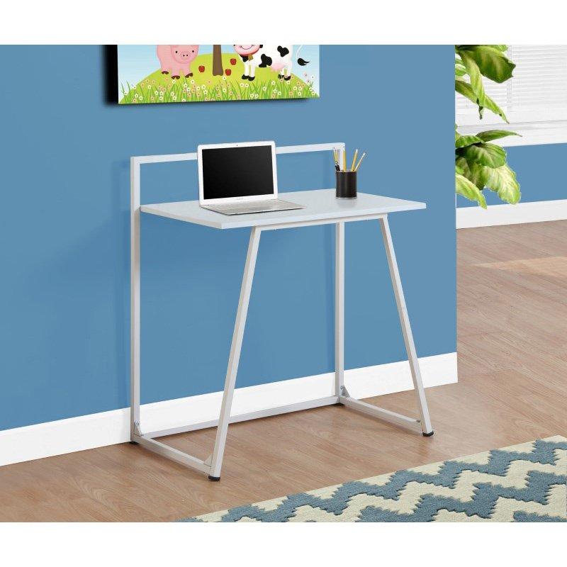 "Monarch Specialties 30""L Computer Desk in Juvenile White and White Metal (I 7110)"