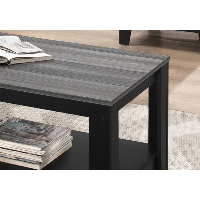 Monarch Specialties 3pcs Coffee Table Set in Black / Grey Top (I 7992P)