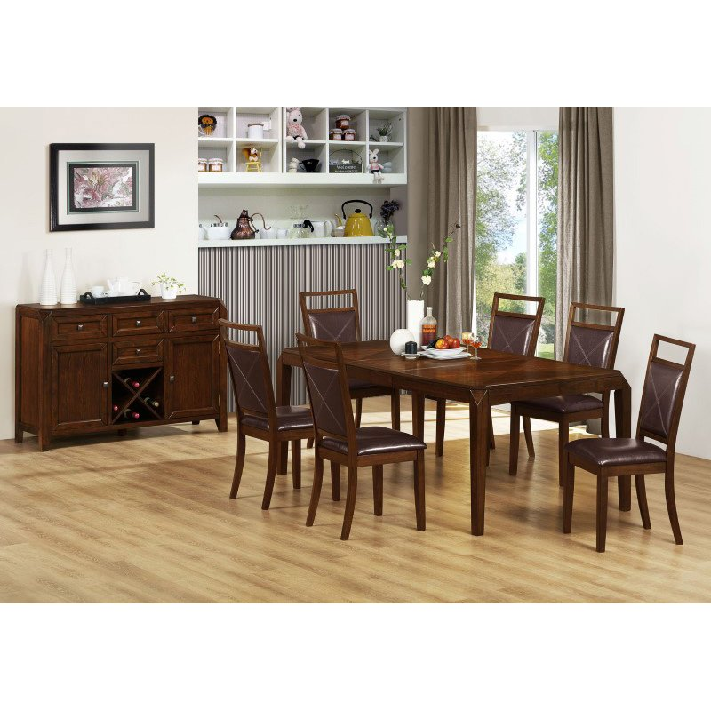 "Monarch Specialties 42"" x 60"" x 78"" Dining Table in Brown Oak with a Leaf (I 1935)"