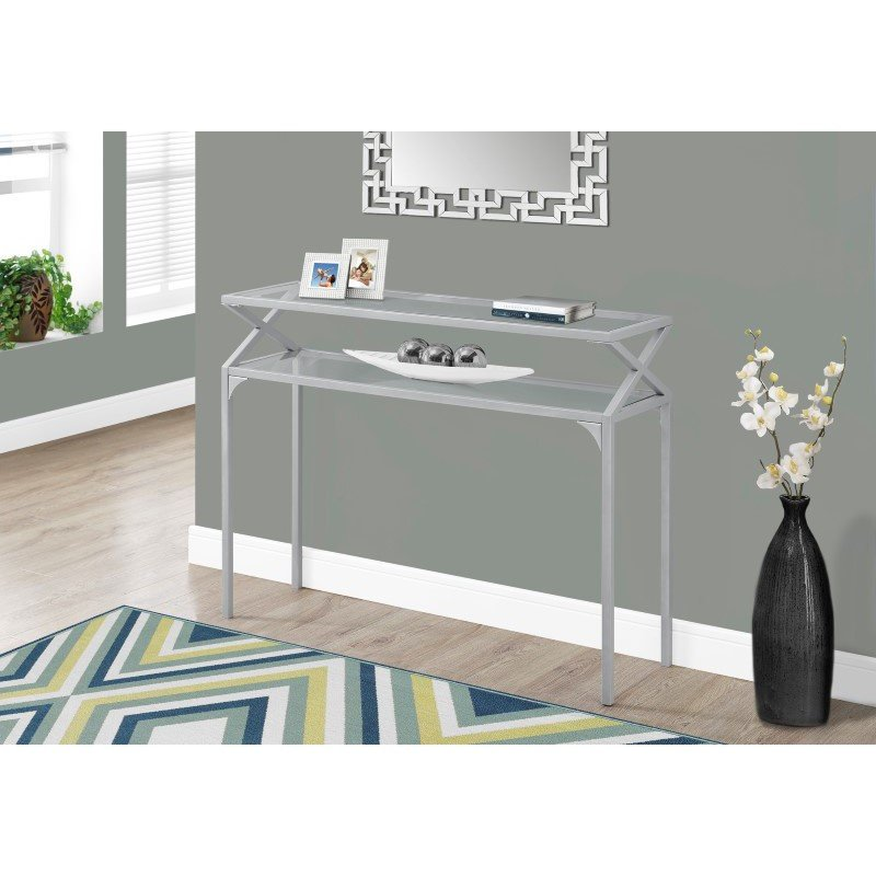 """Monarch Specialties 42""""L Hall Console Table in Silver Metal (I 2115)"""
