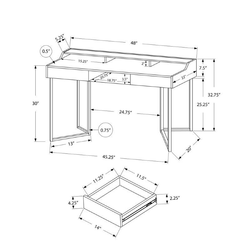 """Monarch Specialties 48""""L Computer Desk in White / Silver Metal (I 7361)"""