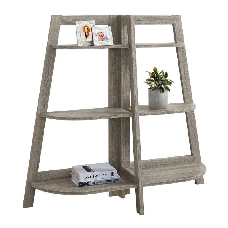 """Monarch Specialties 48""""H Bookcase in Dark Taupe Accent Etagere (I 2428)"""