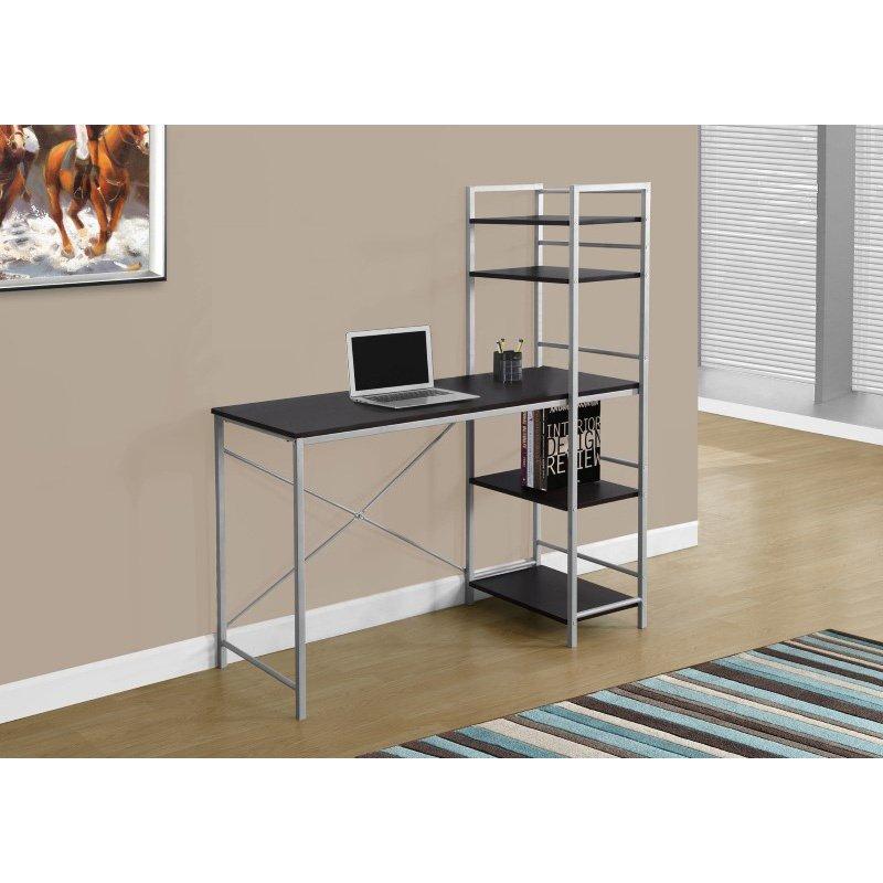 "Monarch Specialties 48""L Computer Desks in Cappuccino Top and Silver Metal (I 7166)"