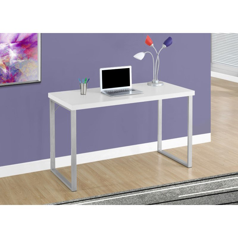 """Monarch Specialties 48""""L Computer Desks in White and Silver Metal (I 7154)"""