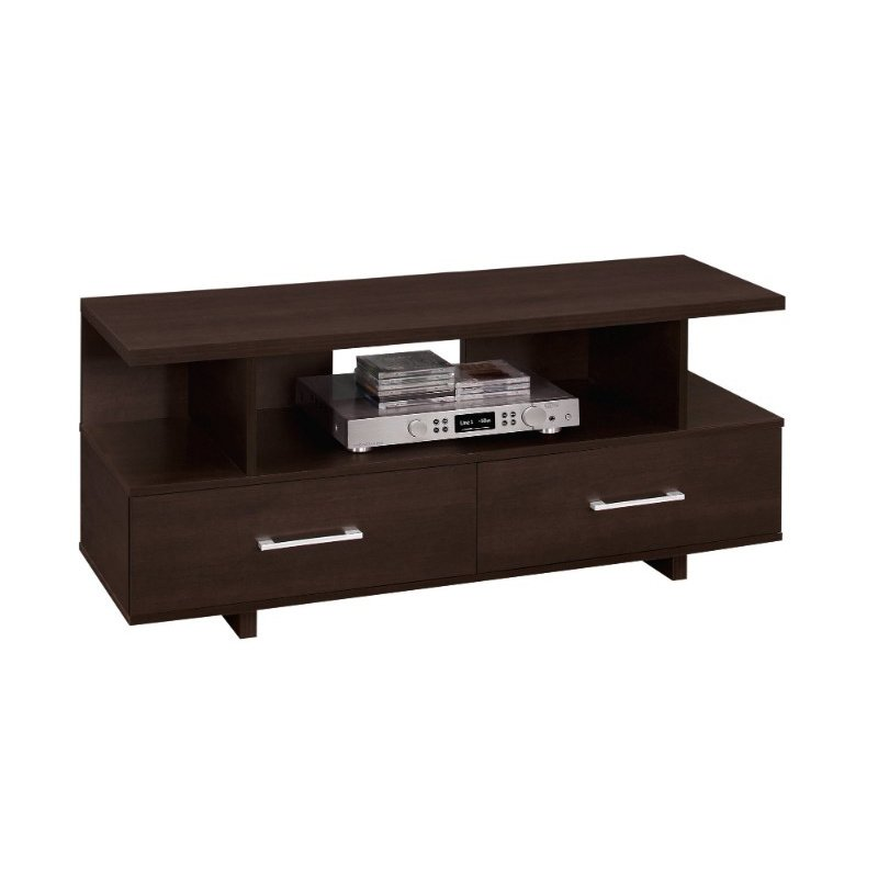 """Monarch Specialties 48""""L TV Stand in Cappuccino with 2 Storage Drawers (I 2606)"""
