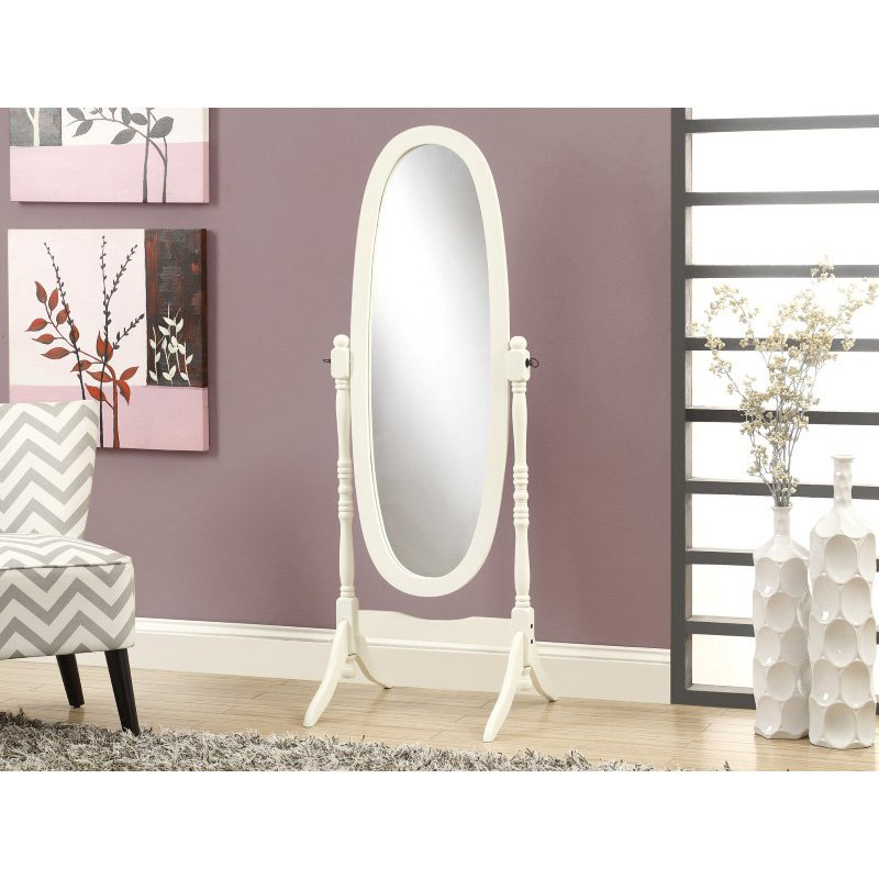 """Monarch Specialties 59""""H Antique White Oval Wood Frame Mirror (I 3102)"""