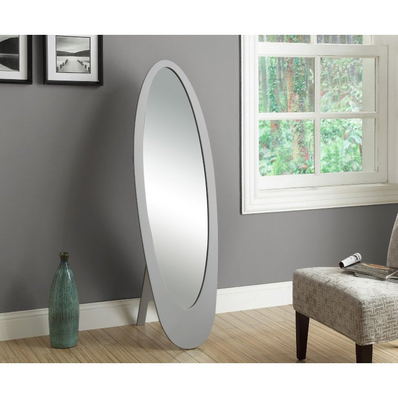 "Monarch Specialties 59""H Grey Contemporary Oval Frame Mirror (I 3359)"