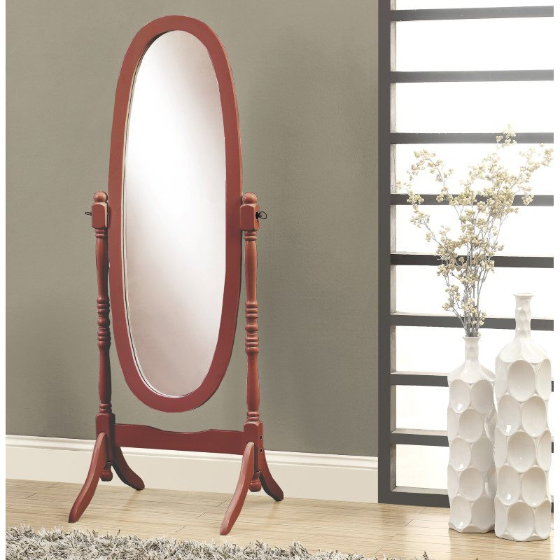 "Monarch Specialties 59""H Walnut Oval Wood Frame Mirror (I 3101)"