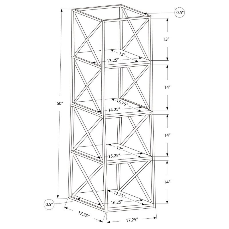 """Monarch Specialties 60""""H Bookcase in White Metal (I 7247)"""