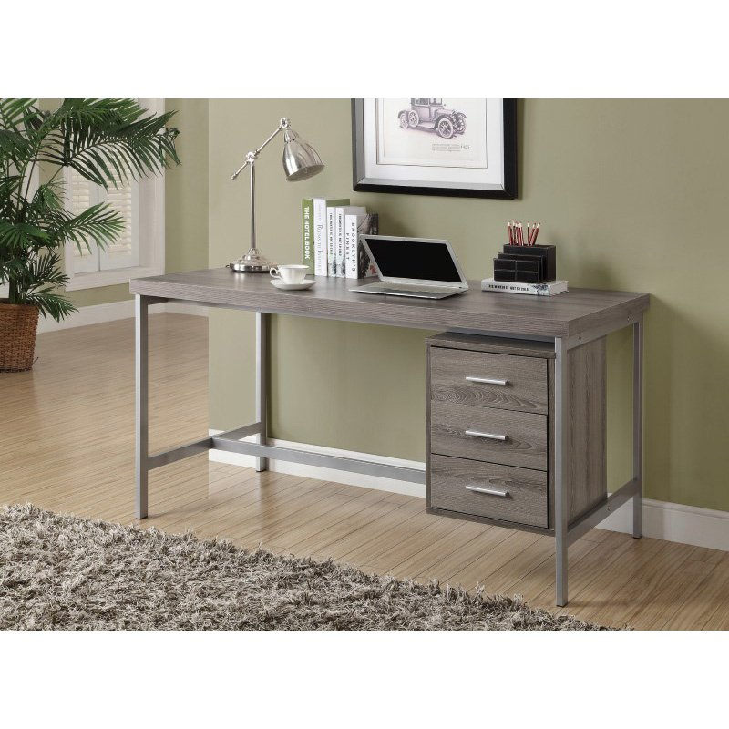 """Monarch Specialties 60""""L Computer Desks in Dark Taupe and Silver Metal (I 7345)"""