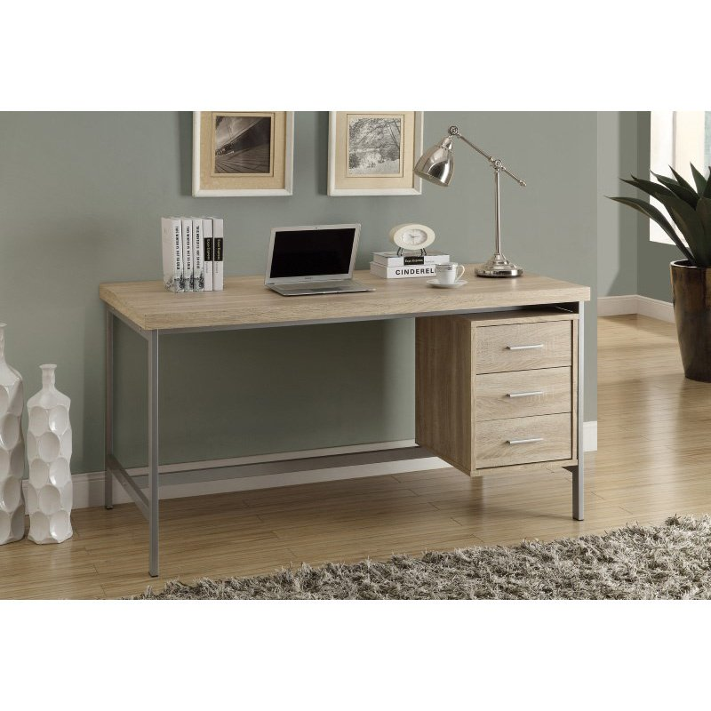 "Monarch Specialties 60""L Computer Desks in Natural with Silver Metal (I 7245)"